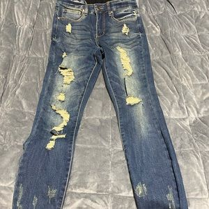 Grace and Lace Distressed Waste shaper jeggings